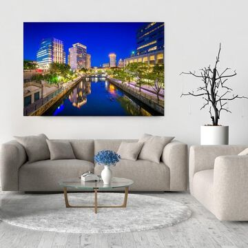 Noir Gallery Downtown Providence, Rhode Island Skyline Photo Print on Metal.