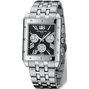 Raymond Weil Men's Stainless Steel Chronograph Watch (Raymond Weil Men's Black Chronograph Dial Watch)