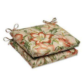 Pillow Perfect Botanical Glow Squared Seat Cushions in Tan (Set of 2)