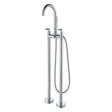 AKDY Brass Chrome Handheld Wand With Freestanding Bathtub Filler Faucet