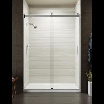 "Kohler K-706165-L Levity 82"" High x 59-5/8"" Wide Sliding Frameless Shower Door with Clear Glass Bright Polished Silver Showers Shower Doors Sliding"