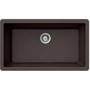Houzer V-100U MOCHA Quartztone Series Granite Undermount Large Single Bowl Kitchen Sink, Mocha