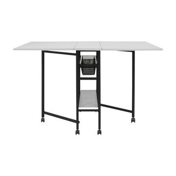 Offex Mobile Fabric Cutting Table with Storage