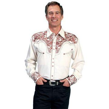 Scully Legends Men's Poly/Rayon Blend Snap Front Shirt, P-634-CRM-L
