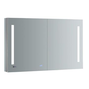 Fresca Luminosa 48-in x 30-in Lighted LED Fog Free Surface/Recessed Gray Mirrored Rectangle Medicine Cabinet with Outlet