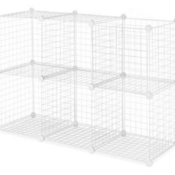 Whitmor Set of 6 Wire Storage Cubes, White