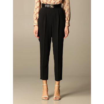 Elisabetta Franchi Pants Elisabetta Franchi Trousers In Crepe With Belt