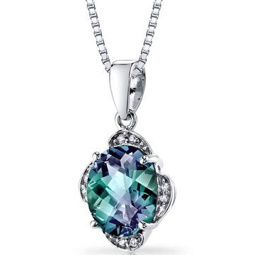 Oravo 14k White Gold 3 1/4ct TGW Created Alexandrite with Diamond Accents Pendant