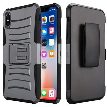 Insten Dual Layer Hybrid Stand Hard Snap-in Holster Case Cover For Apple iPhone XR - Gray/Black