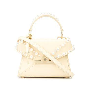 Amelia pearl-embellished leather satchel