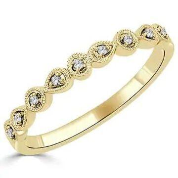 Auriya 10k Gold 0.05ctw Ultra-thin Vintage Stackable Diamond Wedding Band (Yellow - 5)