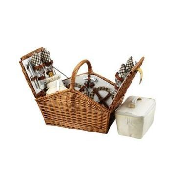 Picnic at Ascot Huntsman English-Style Willow Picnic Basket with Service for 4