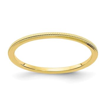 14K Yellow Gold Polished 1.2mm Milgrain Stackable Band by Versil (4.5)