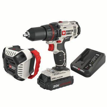 PORTER CABLE PCCK607LA 20V MAX Lithium-Ion 1/2-Inch Cordless Drill and Blue Tooth Radio Combo Kit