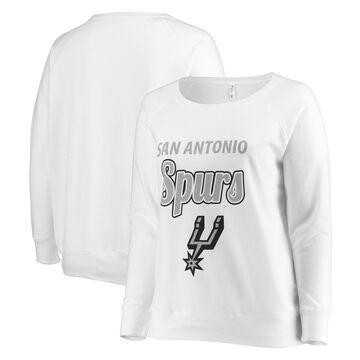San Antonio Spurs Soft as a Grape Women's Curvy French Terry Slouch Crew Neck Sweatshirt - White