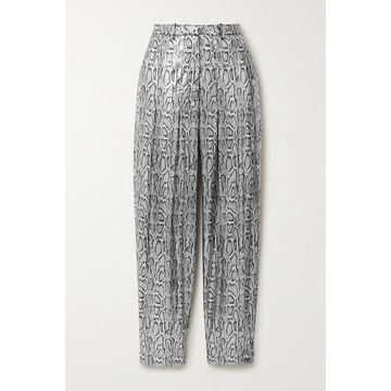 Christopher Kane - Pleated Sequin-embellished Snake-effect Faux Leather Tapered Pants - Silver