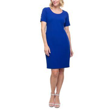 Sl Fashions Beaded-Sleeve Sheath Dress