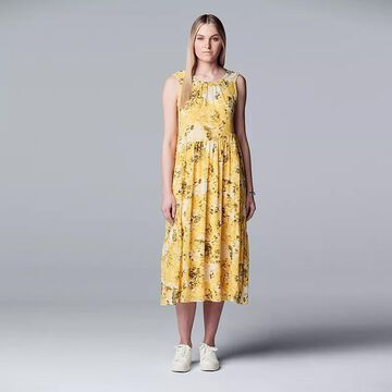Petite Simply Vera Vera Wang Shirred Waist Midi Dress, Women's, Size: Small Petite, Yellow