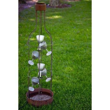 Alpine Corporation IPS210 Alpine Metal Bottle Shaped Fountain with Tiering Wine Glasses, 44 Inch Tall Floor, 12
