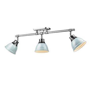 Golden Lighting Duncan Chrome With Seafoam Shades Steel 3-light Semi-flush Track Light