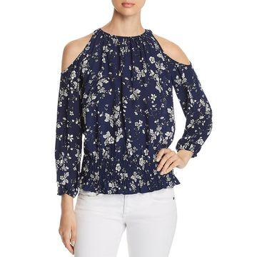 Cupio Womens Cold Shoulder Smocked Blouse