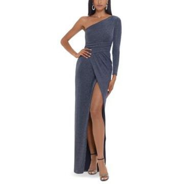 Betsy & Adam One-Shoulder Glitter-Knit Gown