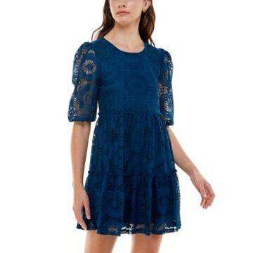 Speechless Juniors' Crochet Lace A-Line Dress