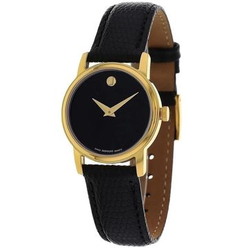 Movado Women's 2100006 'Museum' Black Leather Watch (Stainless Steel - Mineral - 30 Meters - Two Hand - 8 Inch - Black - Analog - 27mm - Round -