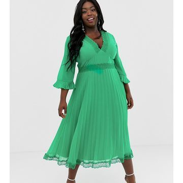 ASOS DESIGN Curve pleated midi dress with lace inserts