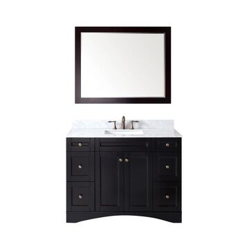 Virtu USA Elise 48-in Espresso Undermount Single Sink Bathroom Vanity with Italian Carrara White Marble Top (Mirror and Faucet Included) in Brown