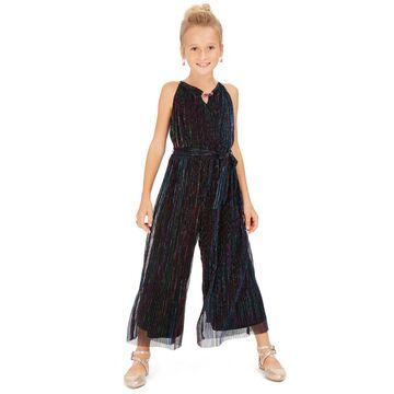 Big Girls Metallic-Stripe Jumpsuit