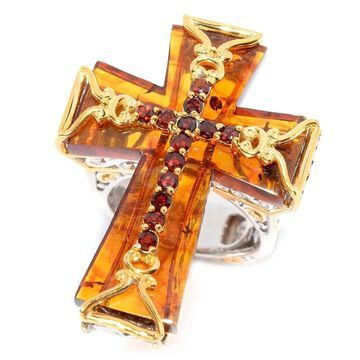 Michael Valitutti Palladium Silver Baltic Amber and Almandine Garnet Cross Ring