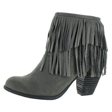 Not Rated Womens Auriga Faux Suede Fringe Western Block Heel Ankle Bootie