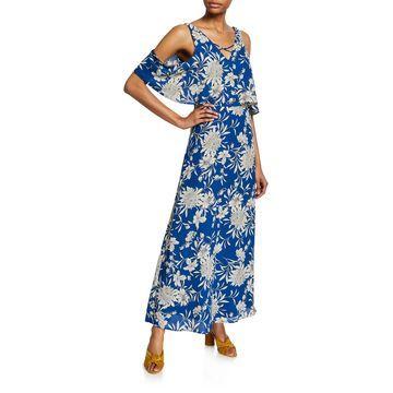 Floral V-Neck Cold-Shoulder Maxi Dress