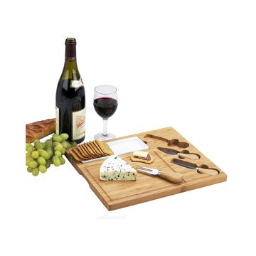 Celtic Bamboo Cheese Board with Ceramic Dish and 3 Cheese Tools