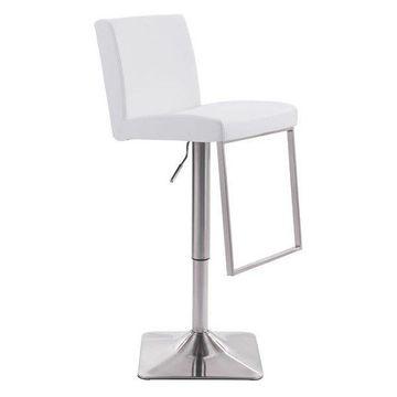 Zuo Modern Puma Bar Chair, White, 100311