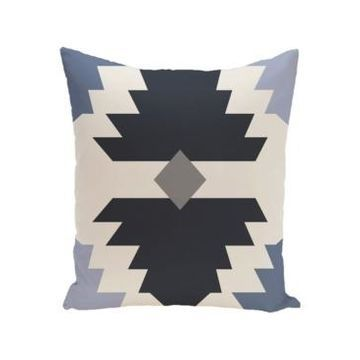16 Inch Navy Blue and Gray Decorative Geometric Throw Pillow