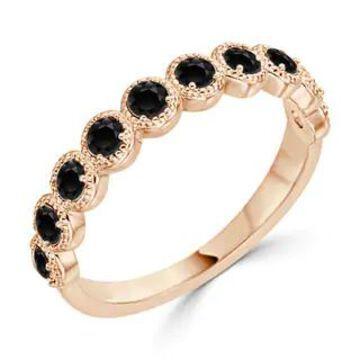 Auriya Delicate Vintage Stackable Black Diamond Band 1/3ctw 10K Gold (Rose - 7)