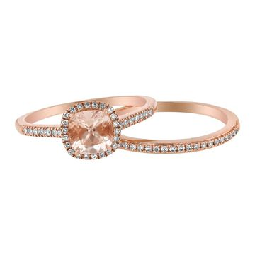 14k Rose Gold Diamonds and Morganite Halo Wedding Band Set by Beverly Hills Charm