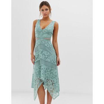 Little Mistress lace insert midi dress with asymmetric hem detail in green-Blue