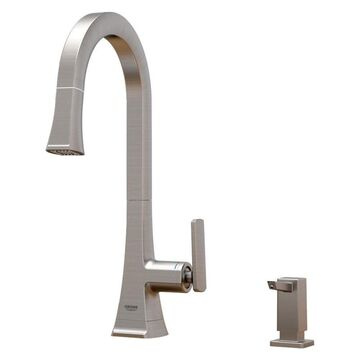 GROHE Carre Stainless Steel 1-Handle Deck-Mount Pull-Down Handle Kitchen Faucet (Deck Plate Included)