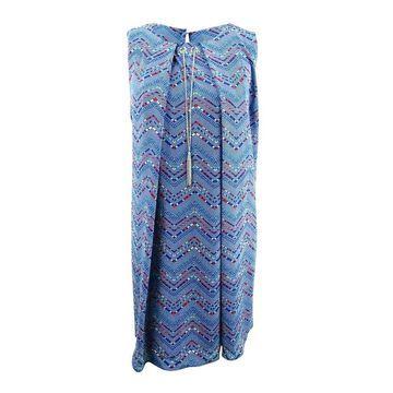 NY Collection Women's Plus Size Printed Necklace Dress (2X, Medium Blue) - Medium Blue - 2X