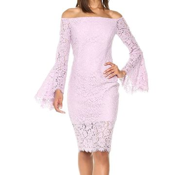 Bardot Purple Women's Size Small S 6 Lace Bell Sleeve Sheath Dress