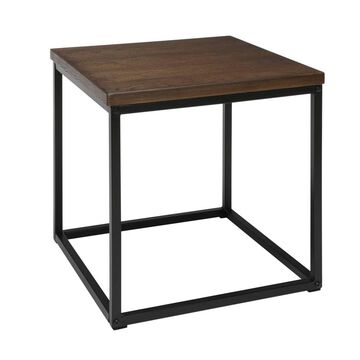 Industrial Modern Wood Top/Metal Frame Side Table Black/Walnut - OFM