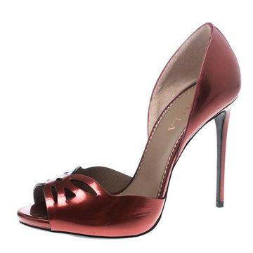 Le Silla Red Leather Spezzata Open Toe D'orsay Pumps Size 38.5