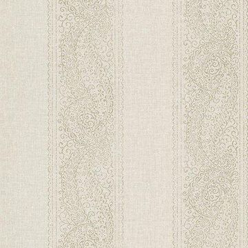 Kenneth James Arcades Taupe Paisley Stripe Wallpaper