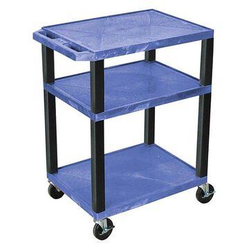 Luxor Tuffy Blue 3-Shelf AV Cart With Black Legs and Electric