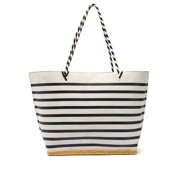 Altuzarra - Espadrille Large Striped Suede Tote Bag - Womens - Navy White