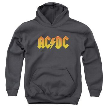 ACDC118-YFTH-3 Acdc & Logo-Youth Pull-Over Hoodie, Charcoal - Large