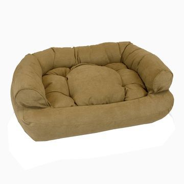 Snoozer Luxury Micro Suede Overstuffed Pet Sofa in Camel